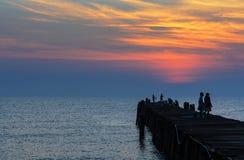 在日出的渔码头 免版税图库摄影