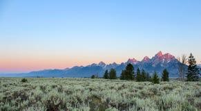 在日出的盛大Teton 免版税库存照片