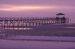 在日出的码头, Biloxi,密西西比 库存照片