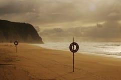 在日出的美丽的海滩 免版税库存照片