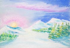 在日出的美好的冬天风景 免版税库存照片