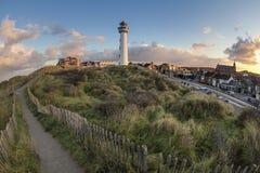在日出的荷兰灯塔 免版税库存图片