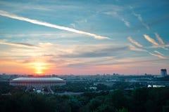 在日出的莫斯科 免版税库存照片