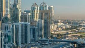 在日出的迪拜小游艇船坞摩天大楼空中顶视图从在迪拜timelapse的JLT,阿拉伯联合酋长国 股票录像