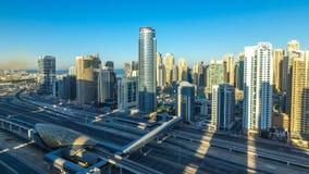 在日出的迪拜小游艇船坞摩天大楼空中顶视图从在迪拜timelapse的JLT,阿拉伯联合酋长国 股票视频