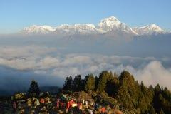 在日出的道拉吉里峰山, Poon小山,喜马拉雅山,尼泊尔 库存照片
