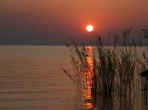 在日出的非洲湖马拉维 免版税图库摄影