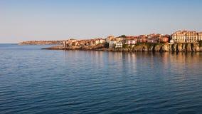 在日出的索佐波尔半岛 免版税库存照片