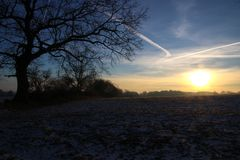 在日出的2月早晨 库存照片
