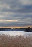 在日出的冻结湖 免版税库存照片