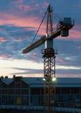 在日出的建筑用起重机 库存图片