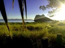 在日出的洛雷托省海湾 图库摄影