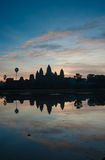 在日出的Angkor Wat寺庙,柬埔寨 免版税库存图片