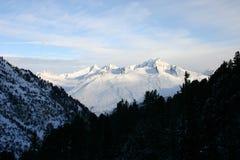 在日出的blanc mont 库存照片