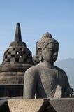在日出的Borobudur寺庙。 免版税库存图片