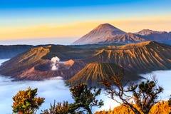 在日出的Bromo火山 库存图片