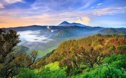 在日出的Bromo vocalno,东爪哇省,印度尼西亚 免版税库存图片