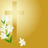 在日出背景的基督徒十字架 库存照片