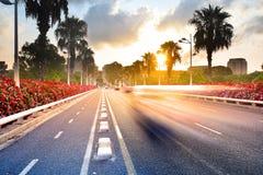 在日出,巴伦西亚,西班牙的都市风景 免版税库存图片