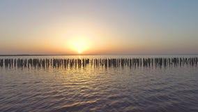 在日出,空中录影灿烂光辉的海表面  影视素材