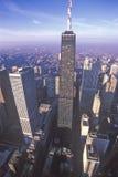 在日出,芝加哥,伊利诺伊的芝加哥地平线 库存图片