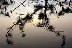 在日出以后的温暖的天空在Phuru 库存照片