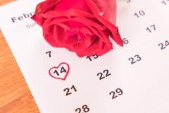 在日历上升了与2月14日华伦泰的da的日期 免版税图库摄影