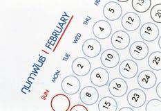 在日历展示的文本在月度 免版税库存照片