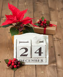 在日历的圣诞前夕日期 12月24日 图库摄影