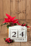 在日历的圣诞前夕日期 12月24日 库存照片