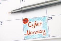 在日历的提示网络星期一与笔 免版税库存照片