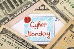 在日历的提示网络星期一与美元 库存图片