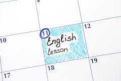 在日历的提示英国教训 免版税库存照片