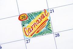在日历的提示Carnaval 库存图片