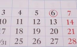在日历的日期 免版税图库摄影