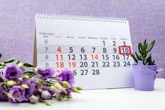 在日历的2月10日马克 图库摄影