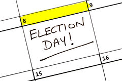 在日历突出的选举日 库存图片