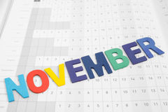 在日历纸的五颜六色的11月月 免版税库存图片