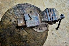 在日志紧紧动态固定的台老虎钳工具 免版税库存照片