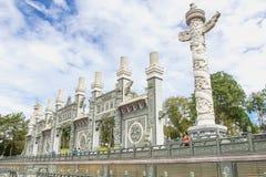 在日月潭,台中,台湾前面的Wenwu寺庙美丽的寺庙 库存照片
