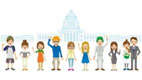 在日本国会议事堂前面的公民 免版税库存照片