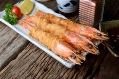 在日本式或ebi furai的被油炸的虾 免版税图库摄影