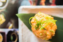 在日本式的海鲜开胃菜 免版税库存图片