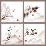 在日本式的自然背景 库存图片