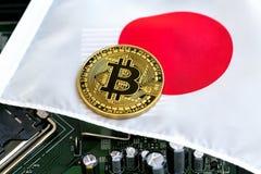 在日本旗子的Bitcoin 免版税库存照片