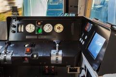 在日本火车的一块仪表板 库存图片