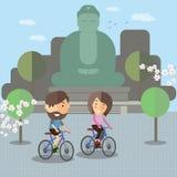 在日本骑一辆自行车 库存图片