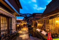 在日本2016年2月白川町去世界遗产村庄 免版税库存照片