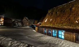 在日本2016年2月白川町去世界遗产村庄 免版税库存图片