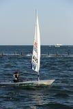 在日照市举行的激光辐形世界航行冠军,山东,中国2013年10月1日 免版税库存照片